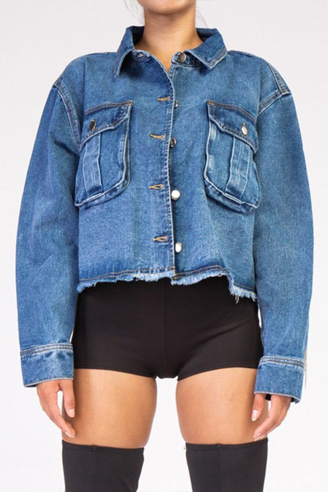 Rehab Rhinestone Denim Jacket - Side Cropped Image