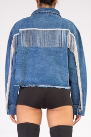 Rehab Rhinestone Denim Jacket - Front cropped