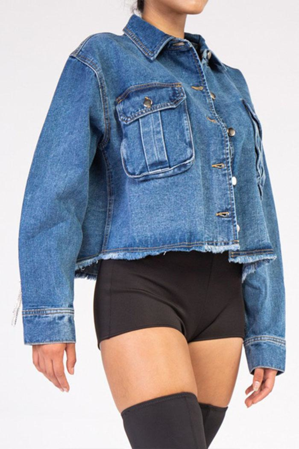 Rehab Rhinestone Denim Jacket - Back Cropped Image