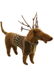 Homart Reindeer Daschund with Antlers Felt Ornament - Product Mini Image