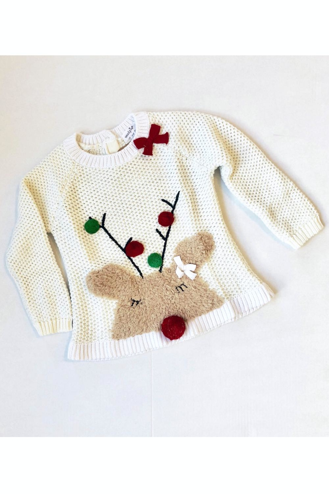 Mud Pie Reindeer Sweater - Front Cropped Image
