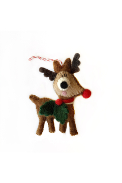 Ornaments 4 Orphans Reindeer with Holly Felt Wool Christmas Ornament - Product List Image