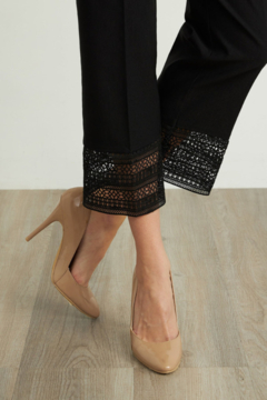 Joseph Ribkoff  Relaxed fit and high-rise waist capris with lacy trim on cuffs - Alternate List Image