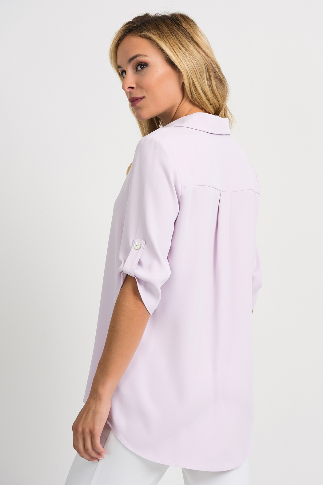 Joseph Ribkoff  Relaxed Fit Blouse, Lavender Fog - Side Cropped Image