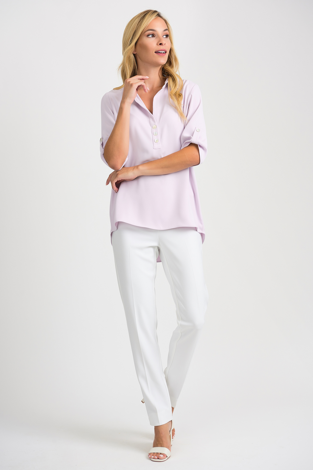 Joseph Ribkoff  Relaxed Fit Blouse, Lavender Fog - Back Cropped Image