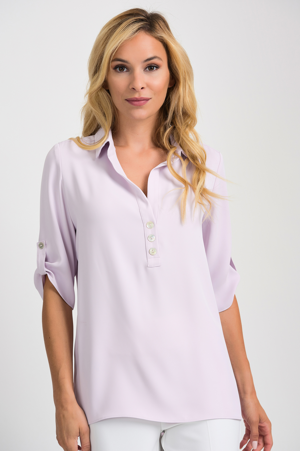 Joseph Ribkoff  Relaxed Fit Blouse, Lavender Fog - Front Cropped Image