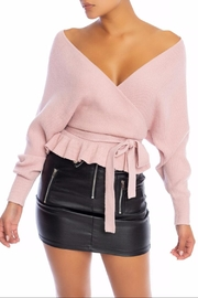 luxxel Relaxed-Fit Tie Sweater - Front cropped