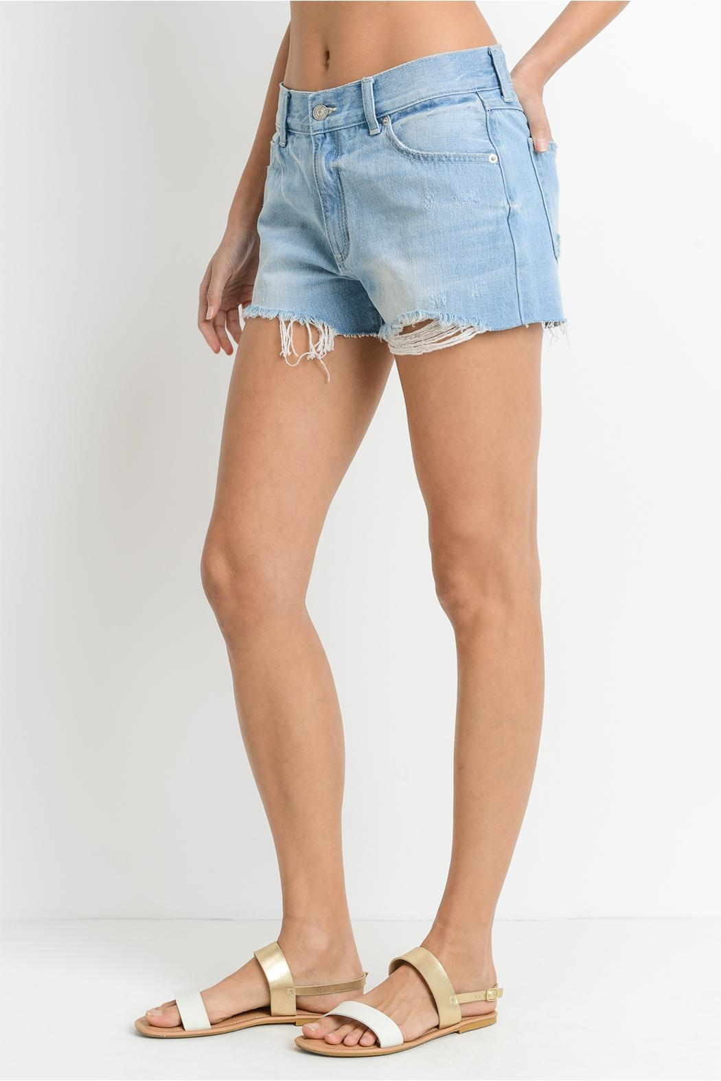 Just USA Relaxed Frayed Shorts - Front Full Image