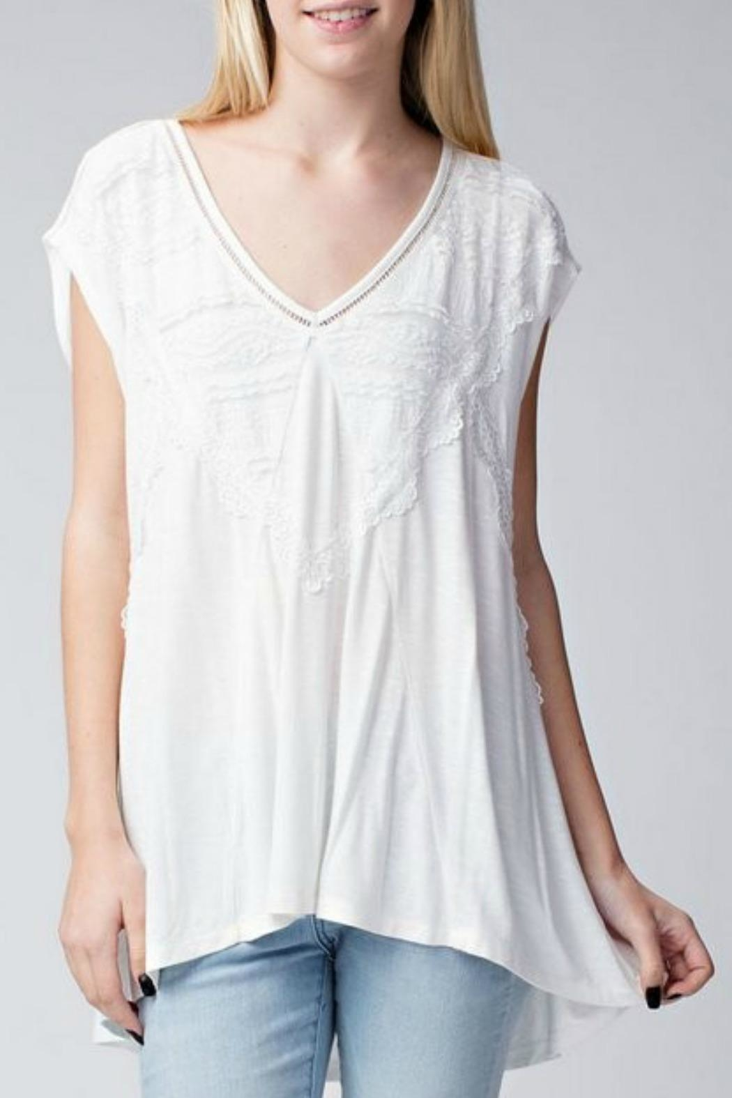 Jodifl Relaxed Lace-Trimmed Tunic - Front Cropped Image