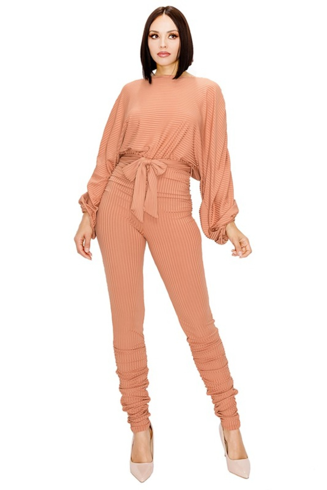 gibu RELAXED LONG SLEEVE BELTED JUMPSUIT - Front Cropped Image