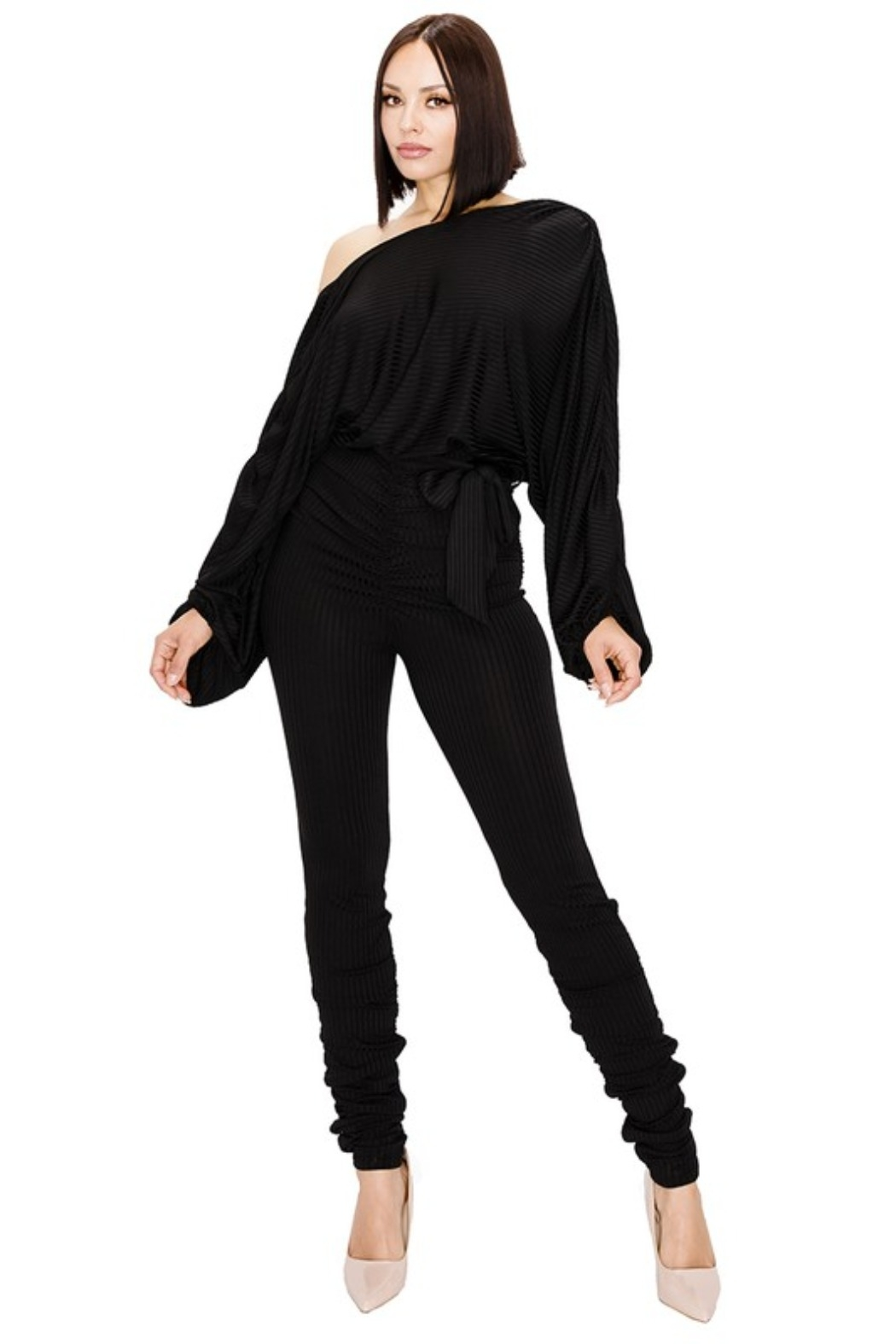 gibu RELAXED LONG SLEEVE BELTED JUMPSUIT - Side Cropped Image