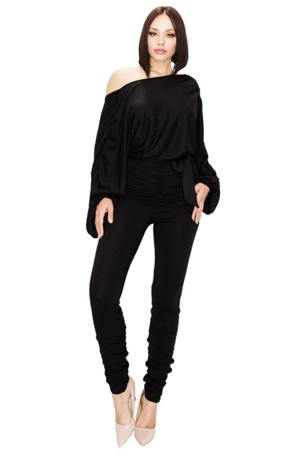 gibu RELAXED LONG SLEEVE BELTED JUMPSUIT - Front Full Image