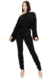 gibu RELAXED LONG SLEEVE BELTED JUMPSUIT - Front cropped