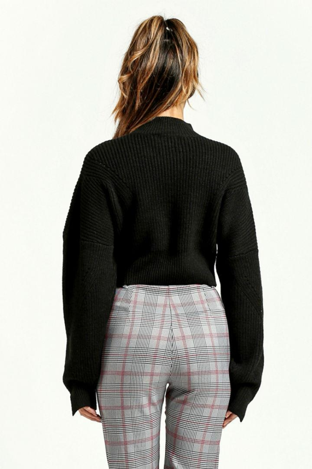 Renamed Clothing Black Cropped Sweater - Front Full Image