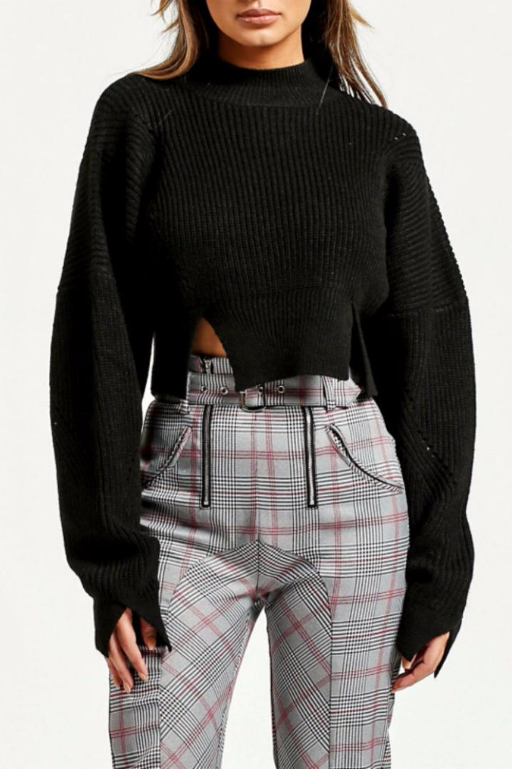 Renamed Clothing Black Cropped Sweater from Brooklyn by Glam ...