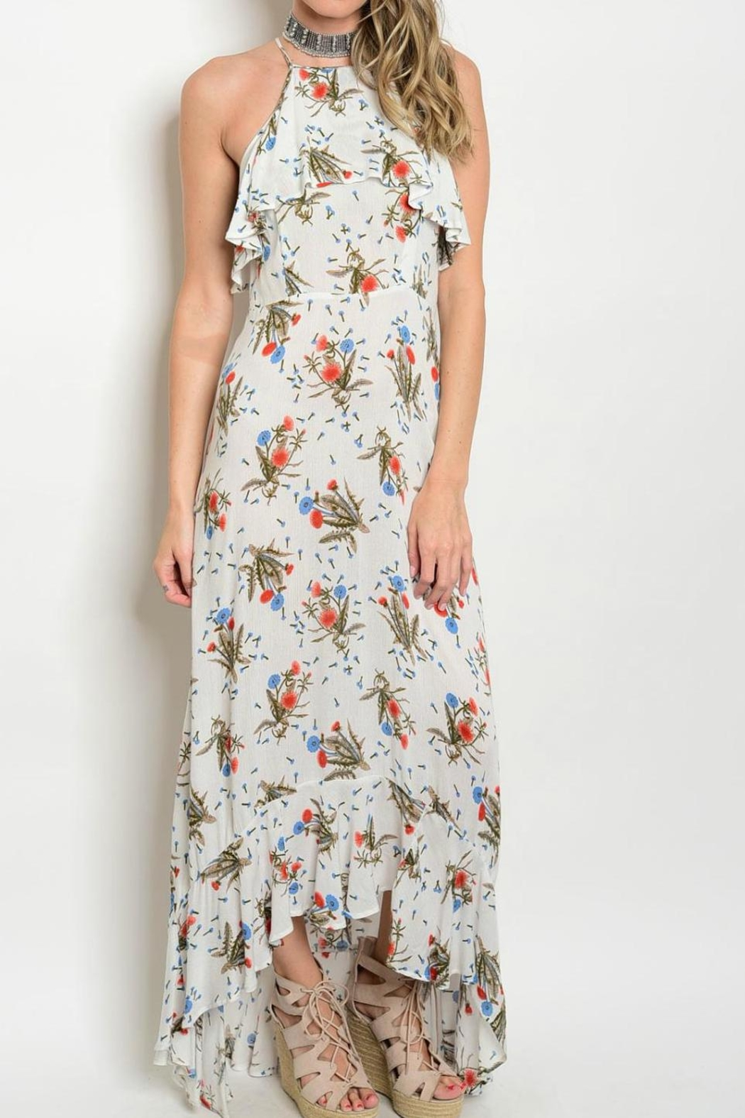 Renamed Clothing Floral White Dress - Main Image