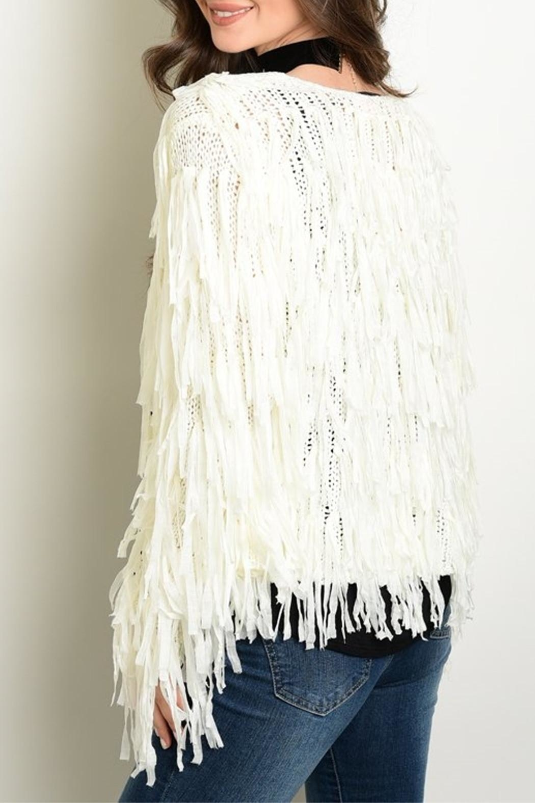 Renamed Clothing Ivory Fringe Cardigan - Front Full Image