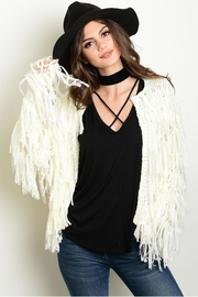 Renamed Clothing Ivory Fringe Cardigan - Front cropped