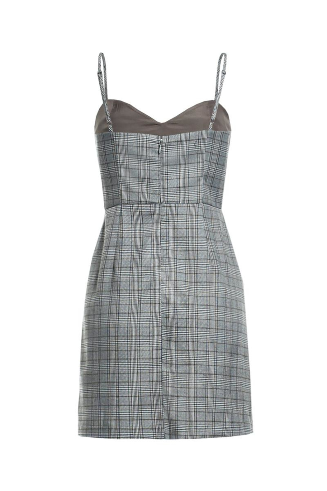 Renamed Clothing Plaid Spaghetti Strap Dress - Front Full Image