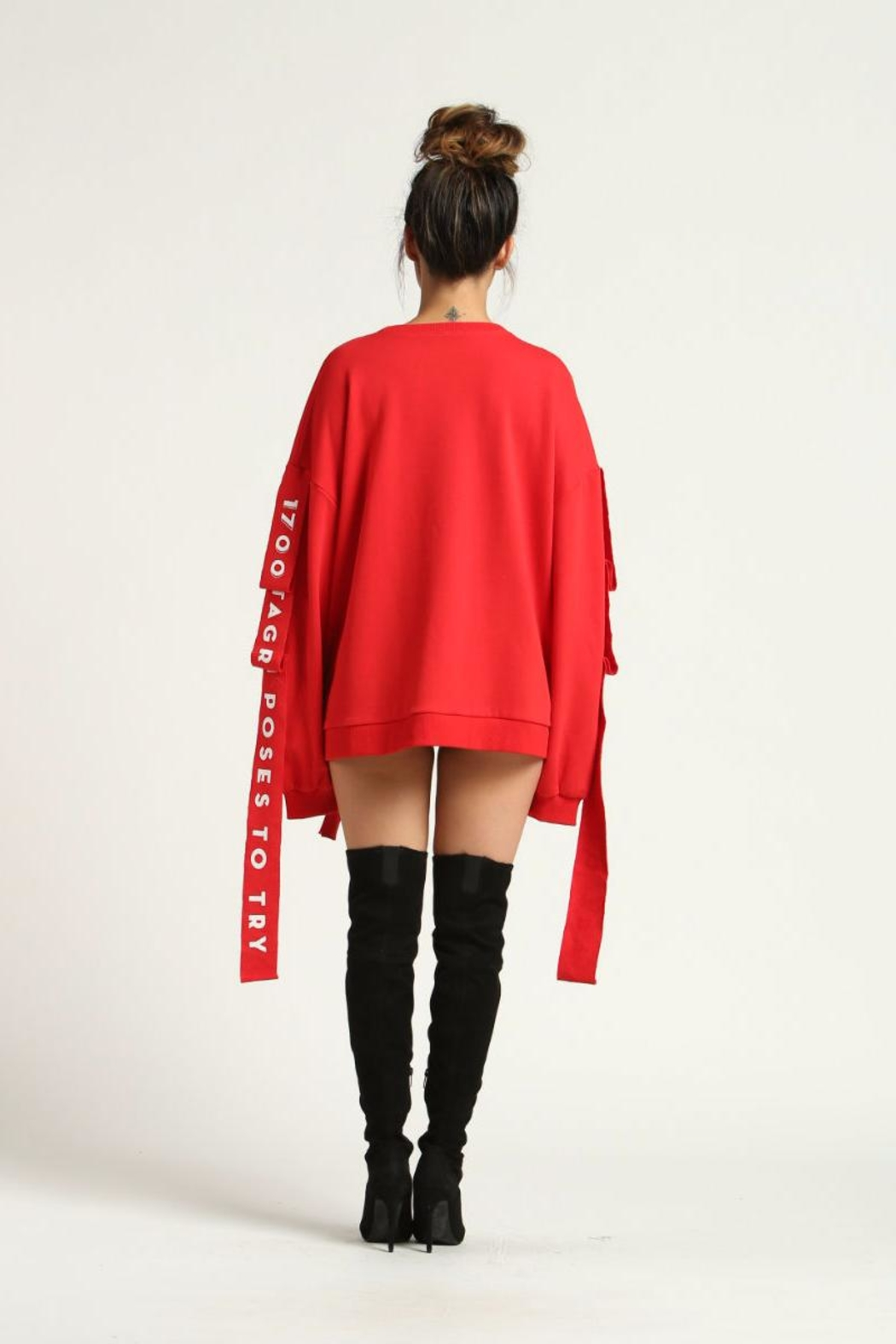 Renamed Clothing Red Distressed Sweatshirt - Front Full Image