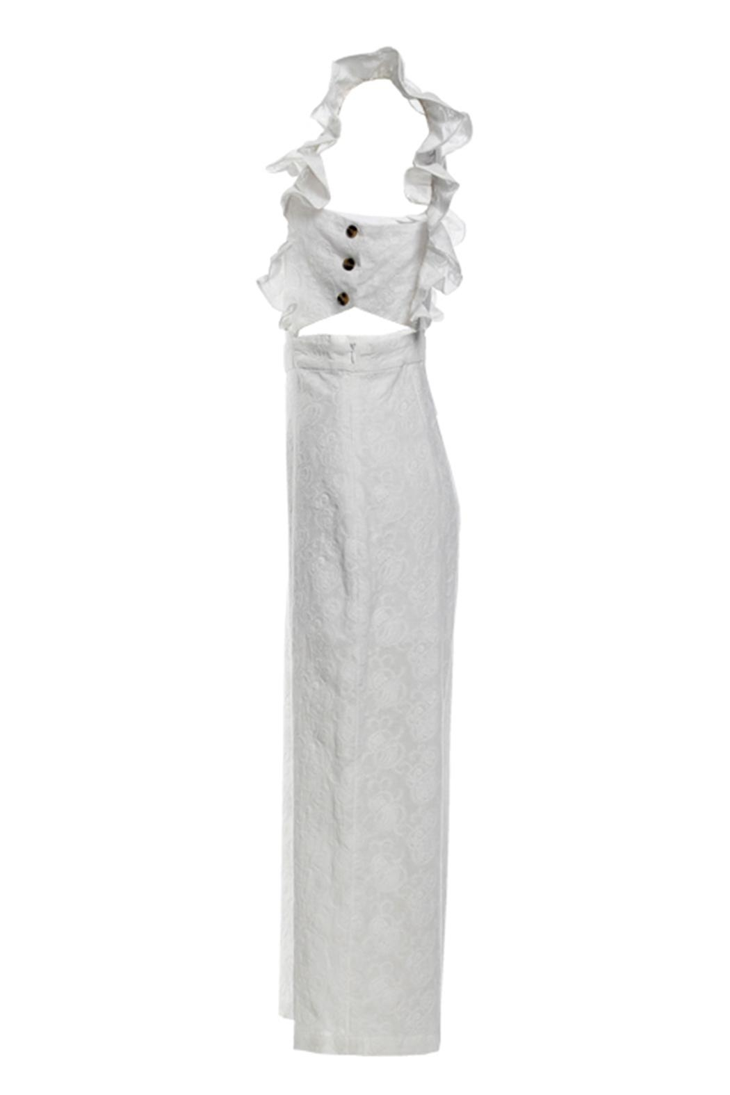 4d03bcea30c Renamed Clothing White Ruffle Jumpsuit from New York by Dor L Dor ...