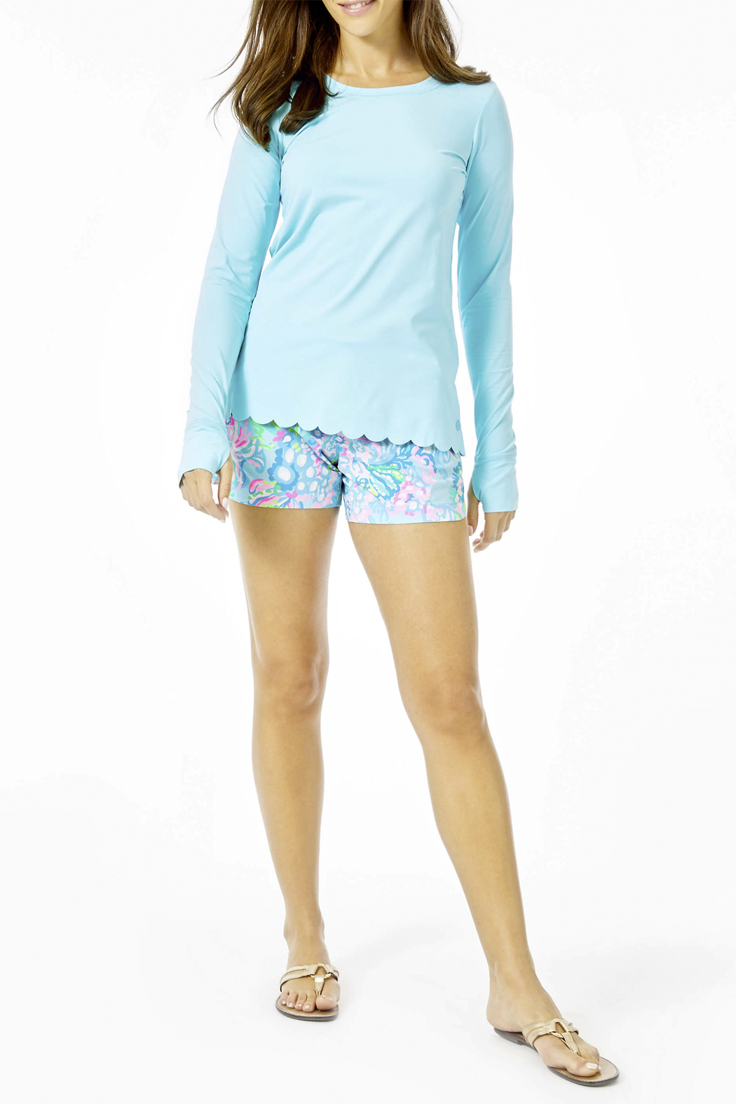 Lilly Pulitzer Renay Scallop Sunguard Luxletic UPF 50+ - Side Cropped Image