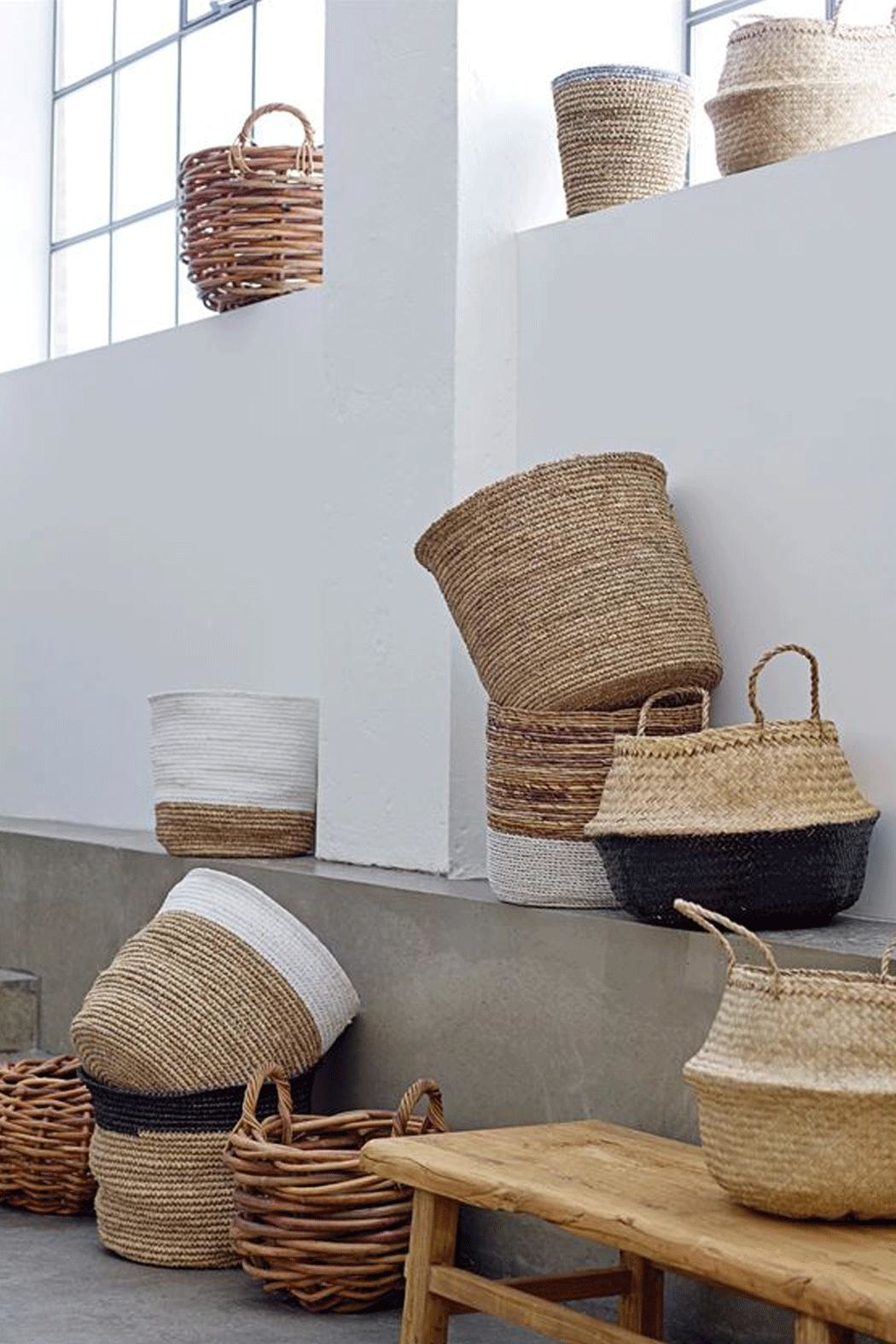 RENDR Grey Seagrass Basket - Front Full Image