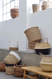 RENDR Grey Seagrass Basket - Front full body