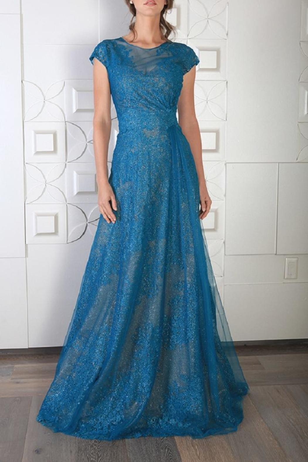 Rene Ruiz Cap Sleeve Gown - Front Cropped Image