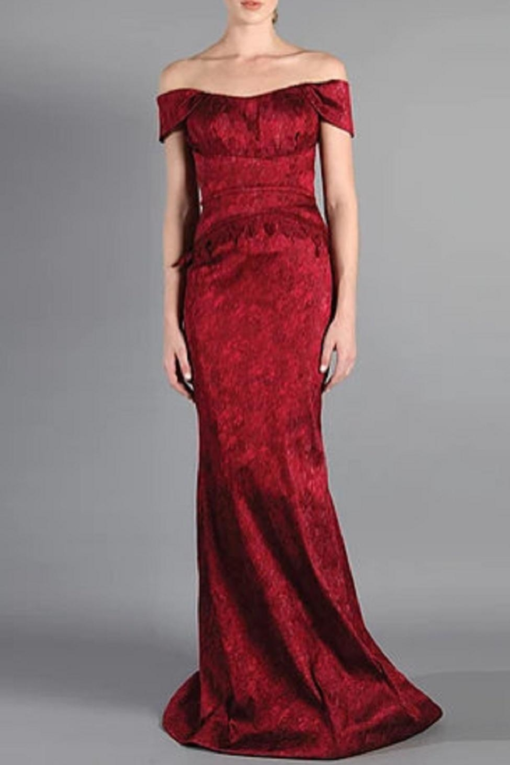 Rene Ruiz Jacquard Evening Gown - Front Cropped Image