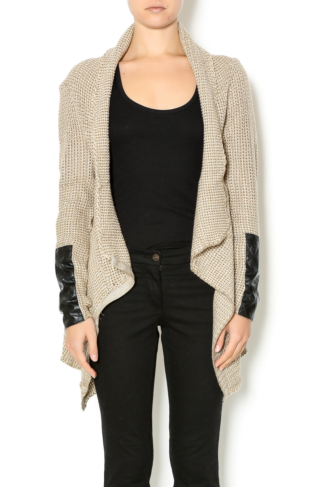 Renee C. Beige Heavy Knit Sweater - Front Cropped Image