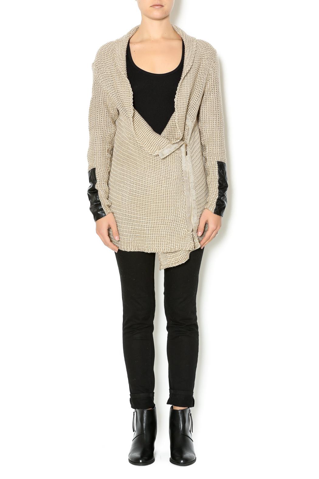 Renee C. Beige Heavy Knit Sweater - Front Full Image