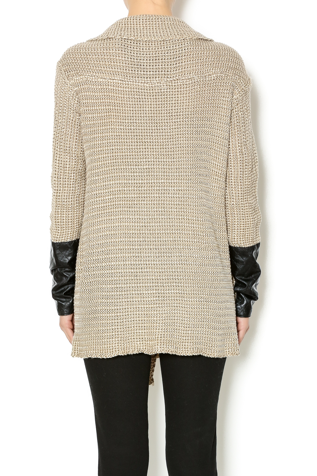 Renee C. Beige Heavy Knit Sweater - Back Cropped Image