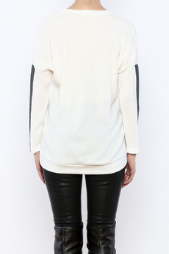Shoptiques Product: Leatherette Sleeve Sweater