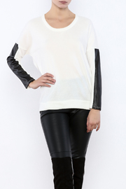 Renee C Leatherette Sleeve Sweater - Product Mini Image