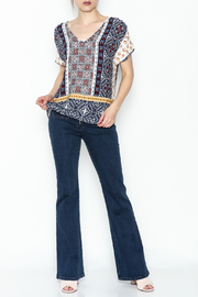 Renee C Printed Keyhole Top - Front cropped