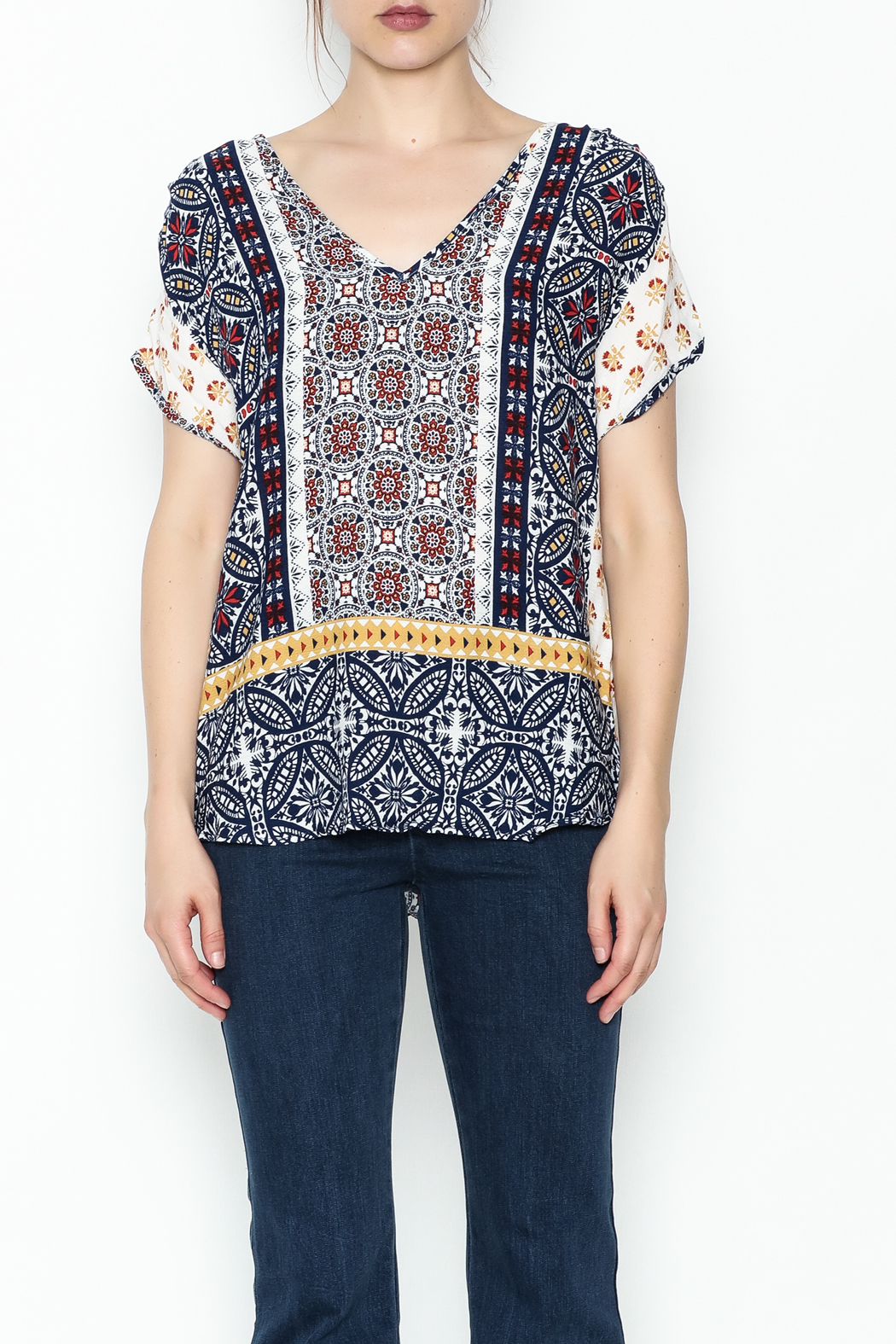 Renee C Printed Keyhole Top - Front Full Image