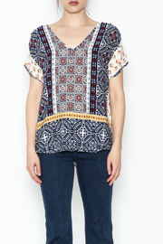 Renee C Printed Keyhole Top - Front full body