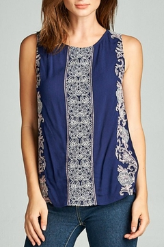 Shoptiques Product: Navy Embroidered Tank