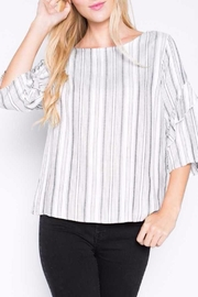 Renee C Pinstripe Ruffle Top - Product Mini Image