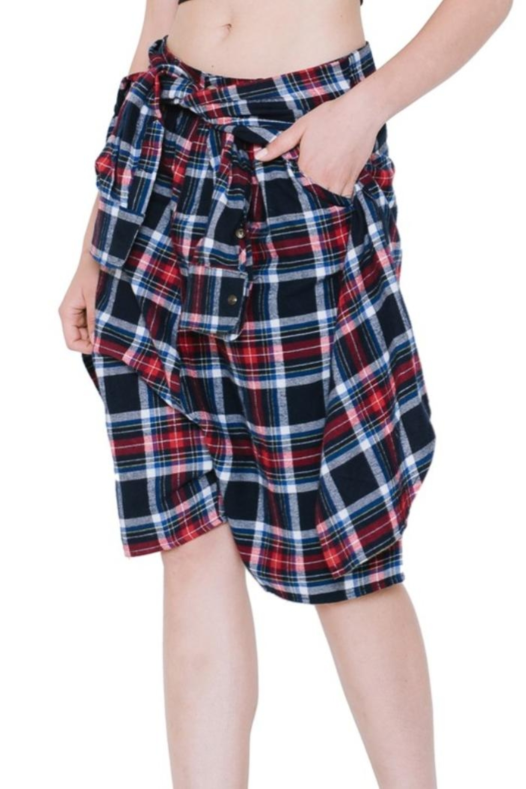 Renee C Plaid Shorts - Side Cropped Image