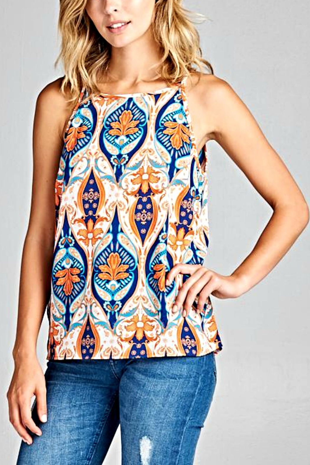 Renee C Sleeveless Retro Top - Front Cropped Image