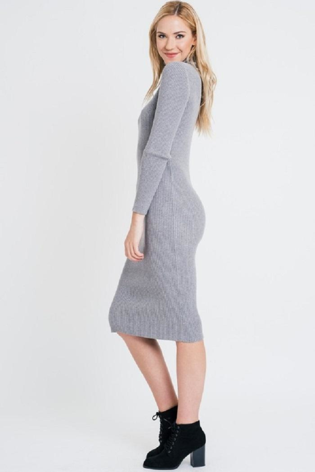 Renee C Turtleneck Sweater Dress - Front Full Image