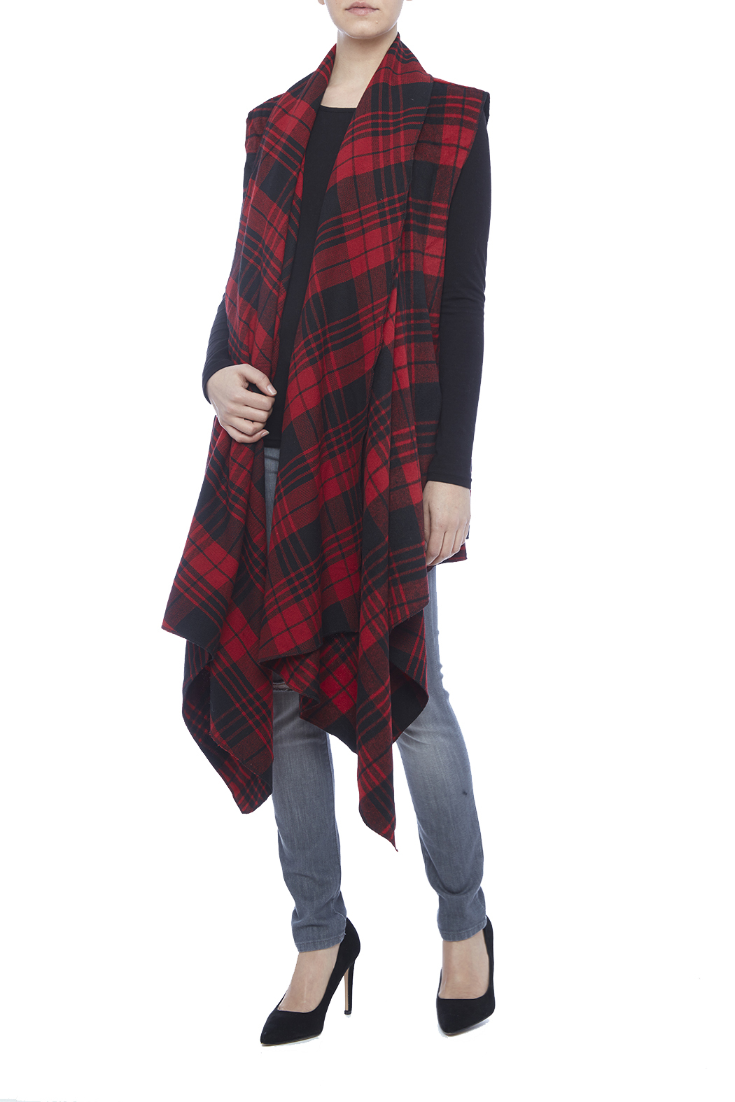 Renee C. Red Plaid Vest - Main Image