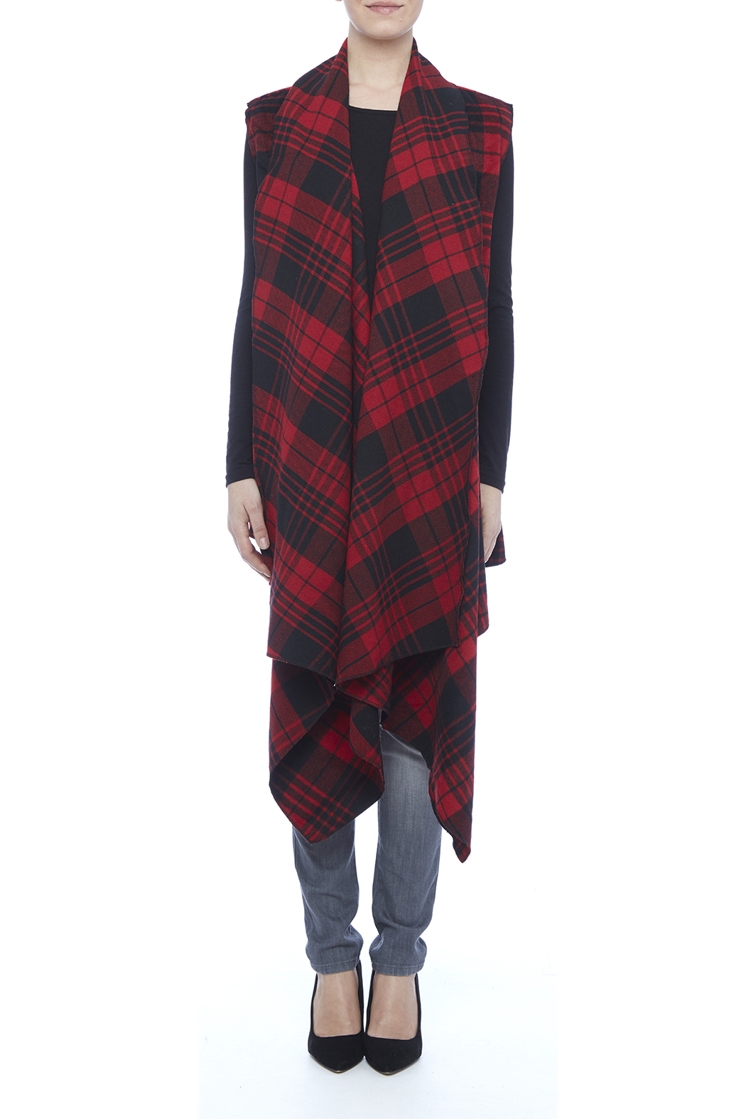 Renee C. Red Plaid Vest - Front Cropped Image