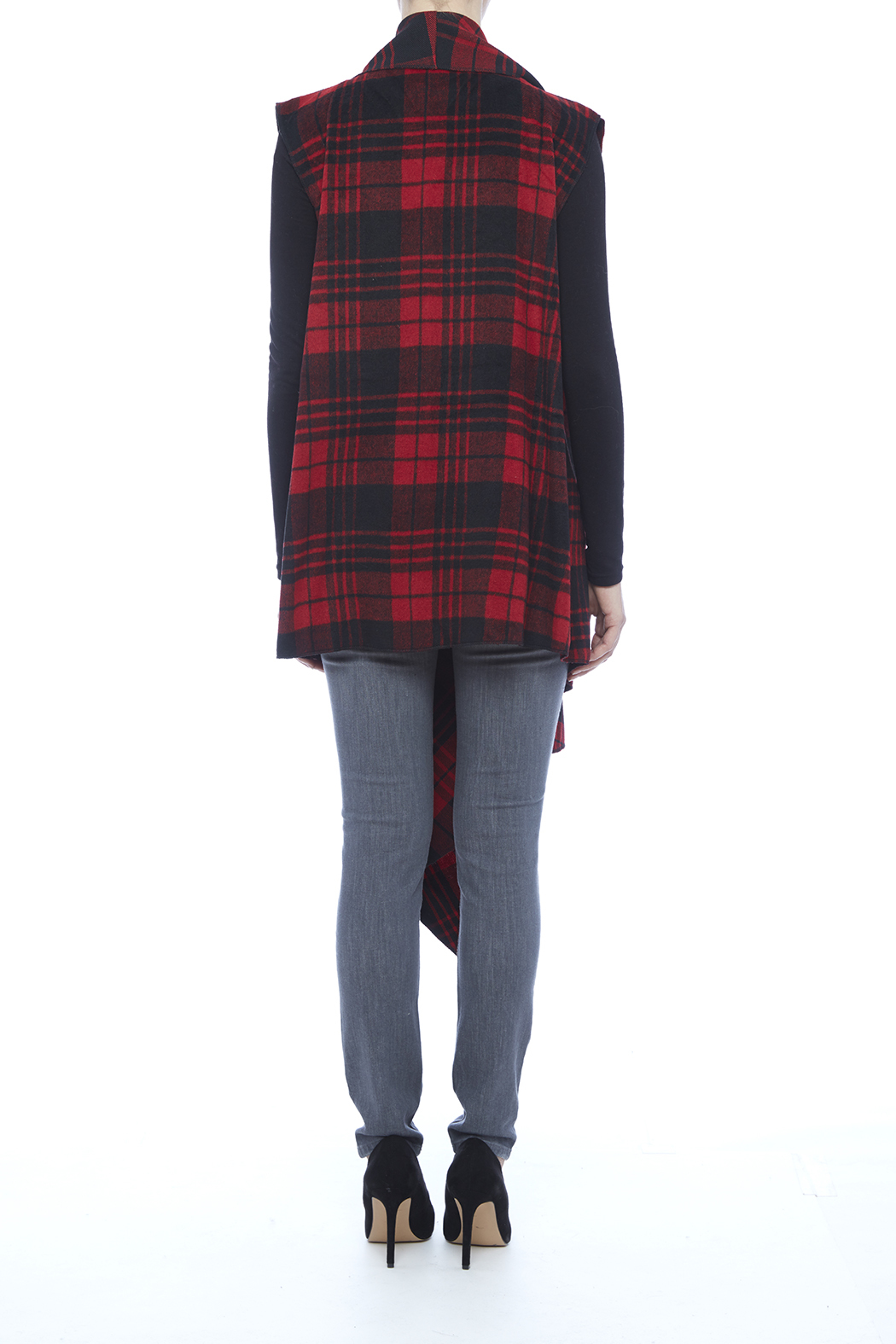 Renee C. Red Plaid Vest - Back Cropped Image