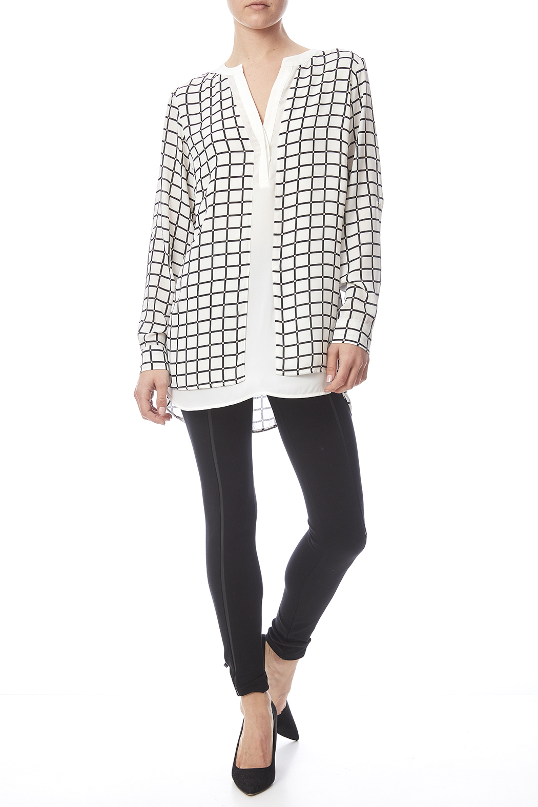 Renuar White Check Blouse - Front Full Image