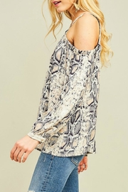 Entro Reptile Print Cold-Shoulder - Front full body