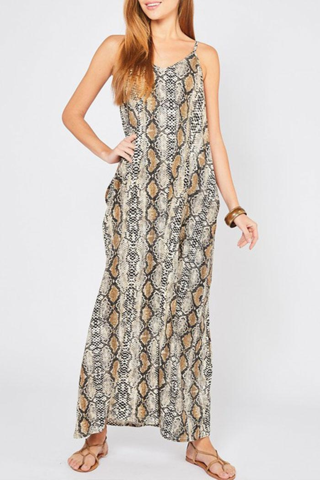 Entro Reptile Print Maxi-Dress - Front Cropped Image
