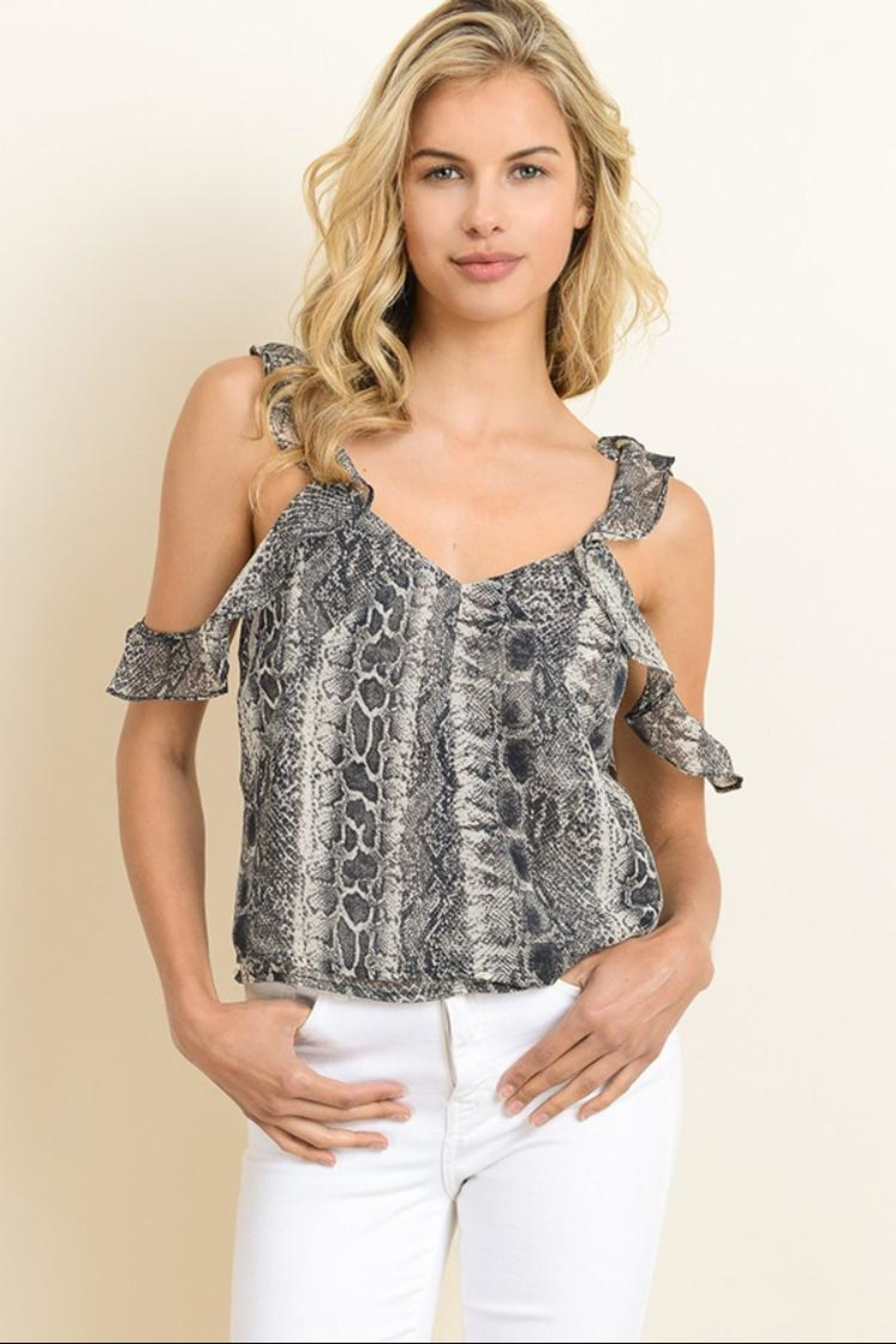 b1b1bb724cecf dress forum Reptile Ruffled Top from Los Angeles by Chikas — Shoptiques